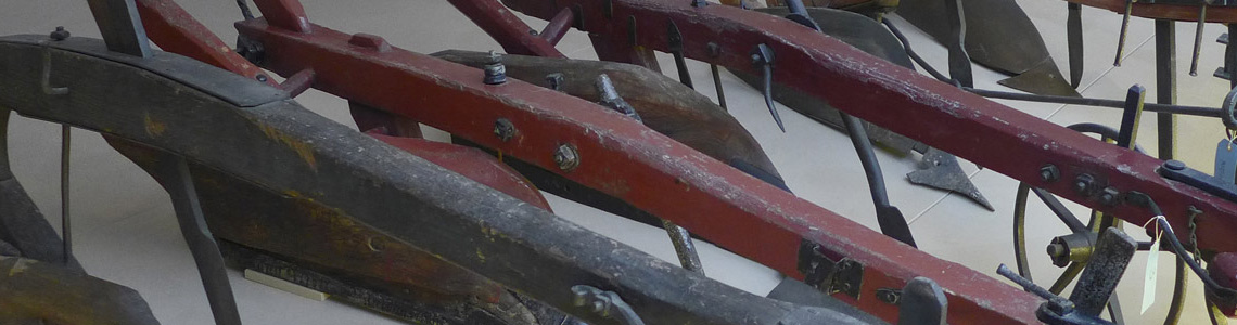 An image of some of the ploughs held at the Museum of English Rural Life.
